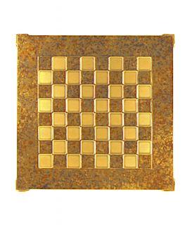 Schaakbord messing en bruin emaille 36 cm - maat 1