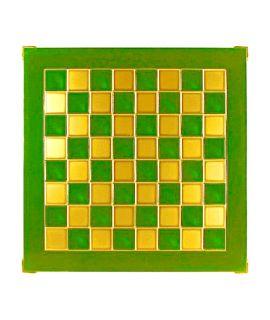 Schaakbord messing en groen emaille 36 cm - maat 1