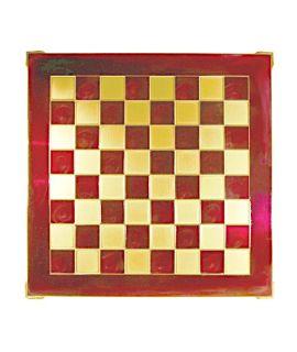 Schaakbord messing en rood emaille 36 cm - maat 1