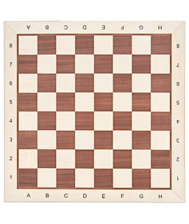 Chessboard 54 cm mahogany - maple with notation - squares 58 mm - maple border - size 6
