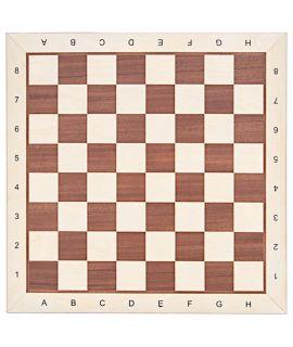 Schaakbord 48 cm mahonie - esdoorn met notatie - velden 50 mm - esdoorn rand - maat 5