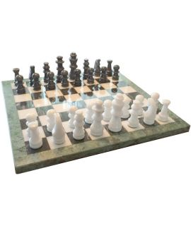 Marble black and white chess set 40 cm - king height 89 mm