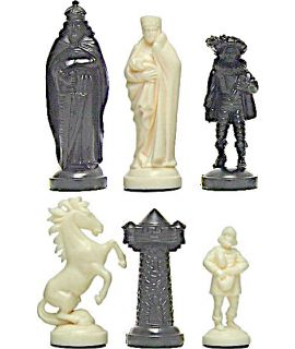 Medieval style plastic white & black chess pieces - king height 96 mm - size 6