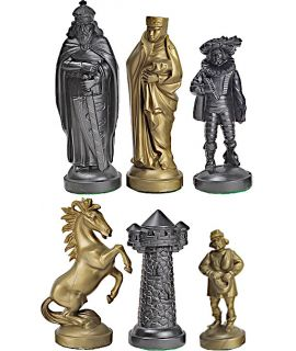 Medieval style plastic gold & black chess pieces - king height 96 mm - size 6