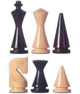 Chess pieces Modern Staunton 3 stained black