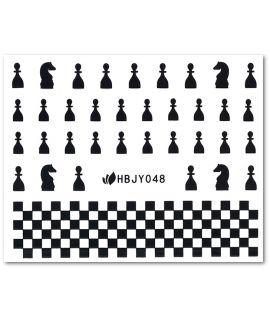 Zwarte schaak water-slide nail art 3D decals