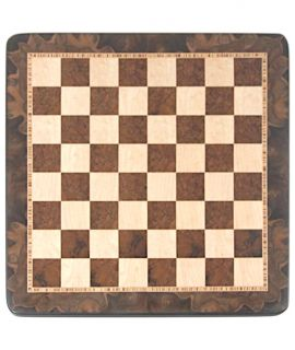 Schaakbord 54 cm notenwortelhout - vogeloog esdoorn - velden 55 mm (#6)