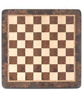 Schaakbord 50 cm notenwortelhout - vogeloog esdoorn - velden 50 mm (#5)