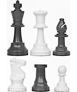Sneeuwwitte schaakstukken kunststof - koningshoogte 95 mm (6#)