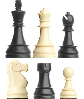 Chess pieces Staunton luxery plastic weighted - king height 95 mm - size 6