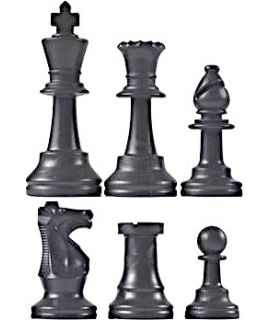 Chess pieces plastic black - king height 64mm