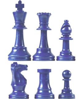 Chess pieces plastic blue - king height 64mm