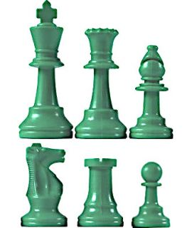 Chess pieces plastic green - king height 64mm