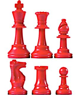Chess pieces plastic red - king height 64mm