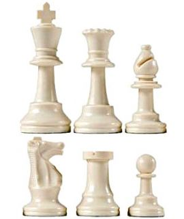 Chess pieces plastic white - king height 64mm
