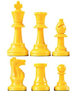 Chess pieces plastic yellow - king height 64mm