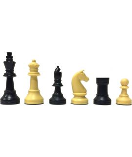 Staunton plastic cream & black chess pieces - king height 90 mm - size 5