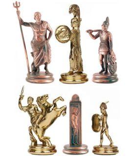 Schaakstukken Poseidon goud en brons - koning 1103 mm - maat 6
