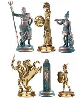 Schaakstukken Poseidon goud en antiek koper - koning 1103 mm - maat 6