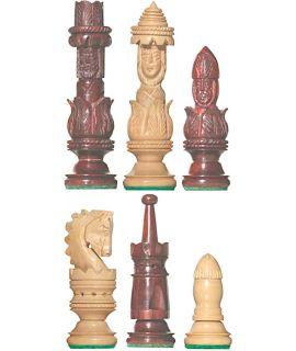 Spaanse preekstoel schaakstukken - gesneden chikri en padouk rozenhout - koningshoogte 107 mm (# 8)