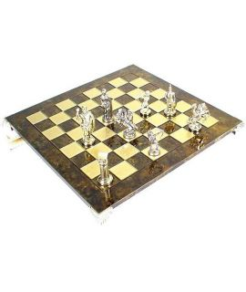 Archers gold and silver chess set and brown brass chess board 28 cm