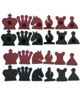 Magnetic chess demonstration board pieces - black and red