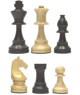 Chess pieces Staunton 5 tournament style weighted ebonized black boxwood - german knight in wooden box