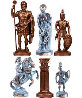 Schaakstukken Grieks-Romeins faux blauw geoxideerd en rood koper - koning 57 mm - maat 00