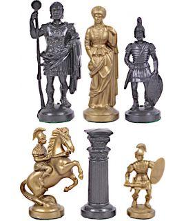 Romeinse kunststof goud - zwarte schaakstukken - koningshoogte 96 mm - maat 6