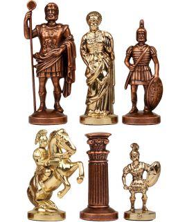 Schaakstukken Grieks-Romeins goud en rood koper - koning 57 mm - maat 00
