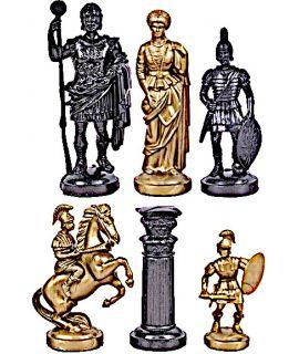 Romeinse gemetalliseerde kunststof goud - zilver schaakstukken - koningshoogte 96 mm - maat 6