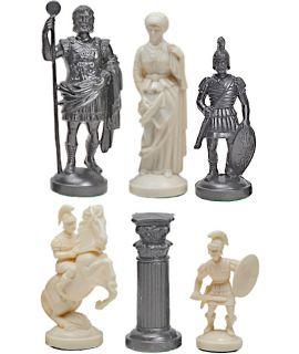 Romeinse kunststof wit - zwarte schaakstukken - koningshoogte 96 mm - maat 6
