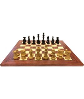 Rosewood chess board combinations black pieces - size 5