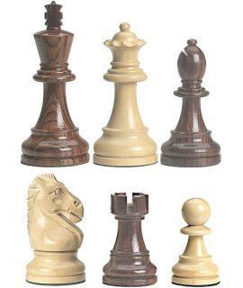 Grand Staunton schaakstukken verzwaard - gepolijst chikri en palissander - koningshoogte 95 mm (#6) & houten doos
