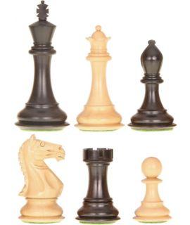 Royal Staunton verzwaard - gepolijst en satijn zwart chikri - koningshoogte 108 mm (#8) & luxe houten doos
