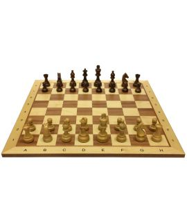 Tournament chess board maple 54 cm with natural weighted chess set with French bishop - size 6