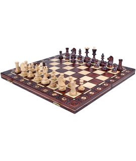 Chess set Senator traditional burn technique brown 41 cm