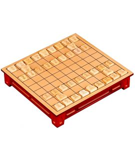 Shogi-Table stained basswood 27 x 25 x 5 cm - printed fields & 40 wooden game pieces - Japanese chess