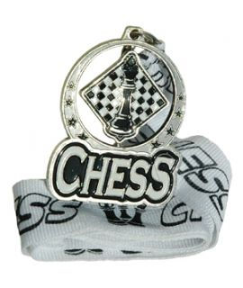 Silver spinning chess medal with ribbon