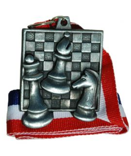 Silver square chess medal with ribbon