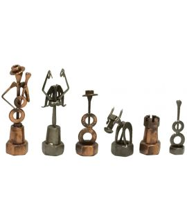 Vintage steel screw and bolt Spannish Constructivism chess set - size 4