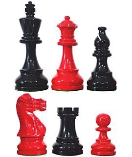 Hoogglans zwaert en rood schaakstukken verzwaard - koningshoogte 95 mm (#6)
