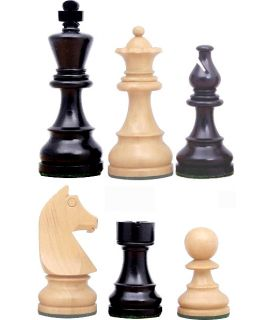 Chess pieces Staunton 6 tournament premium weighted stained black - french bishop - german knight