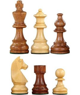 Chess pieces Staunton 6 tournament premium weighted natural wood - french bishop - german knight