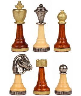 Arabesque Staunton metal chess pieces - king height 75 mm (#3)
