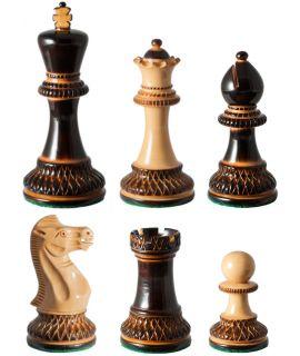 Staunton schaakstukken gelakt gepyrograveerd verzwaard - koningshoogte 95 mm (#6)