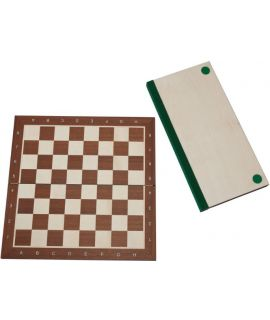 Chessboard 54 cm mahogany - maple with notation - squares 58 mm - foldable