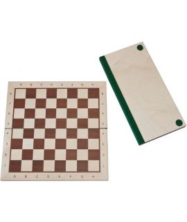 Chessboard 54 cm mahogany - maple with notation - squares 58 mm - maple border - foldable