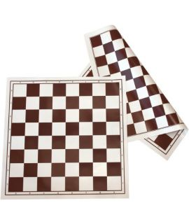 Plastic roll-up chess and draughtsboard 50 cm brown - chess squares 55 mm with algebraic notation