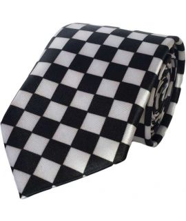 Black and white polyester checkered slim tie